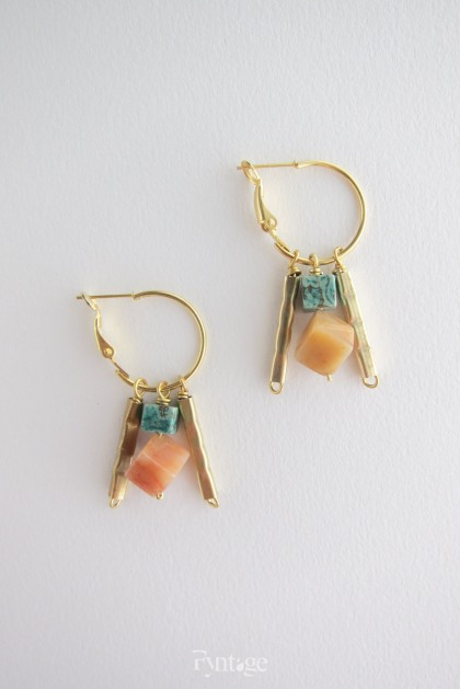 TURQUOISE & CARNELIAN GEOMETRY EARRINGS