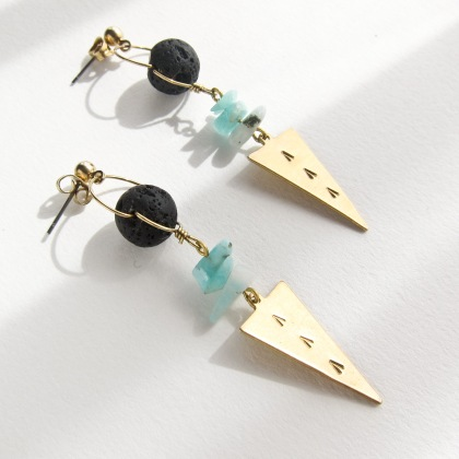 LAVA ROCK & AMAZONITE GEOMETRY EARRINGS