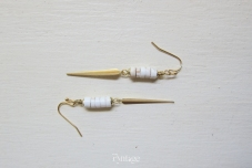 WHITE TURQUOISE & SPIKES DANGLE EARRINGS