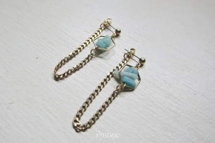 AMAZONITE VINTAGE CHAIN EARRINGS