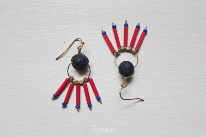 LAVA ROCK TRIBAL FRINGE STATEMENT EARRINGS
